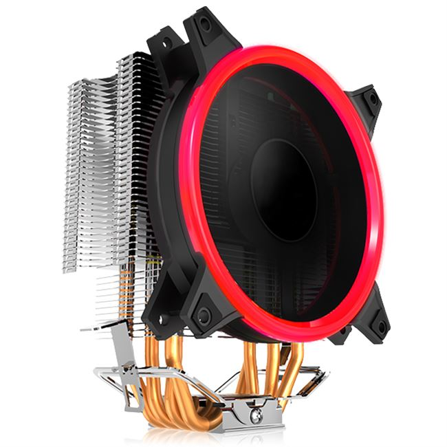 金河田 寒冰400cpu散热器4铜管LED光环风扇静音温控