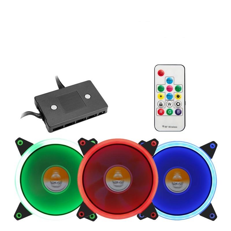 金河田曙光全彩电脑机箱遥控风扇RGB多彩炫彩变色12CM日食极光炫