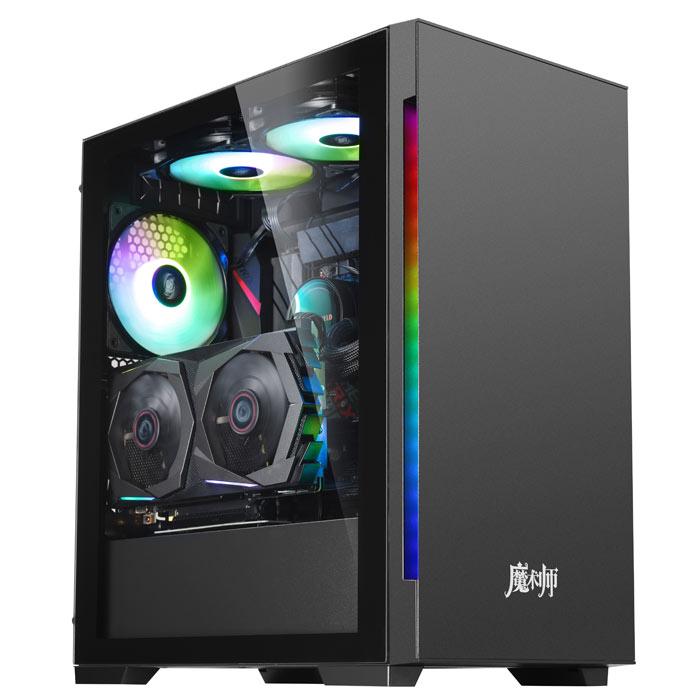 包邮金河田(Golden field)魔术师super黑粉蓝色电脑机箱 钢化玻璃电竞游戏台式水冷机箱